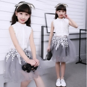 Kids Girls Summer suit 2017 new children dress Korean summer dress Princess two piece sleeve