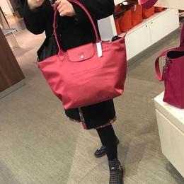 法国正品Longchamp2018新款珑骧加厚款大号长柄折叠饺子包