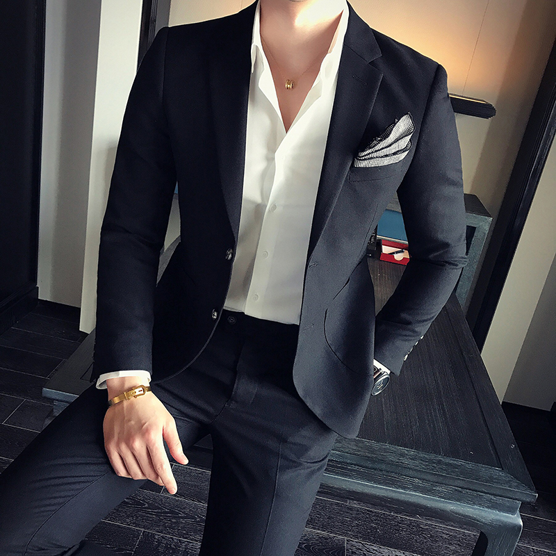 2017 new men's Korean version of leisure culture tide men's business small suit, the groom's wedding dress suit three sets