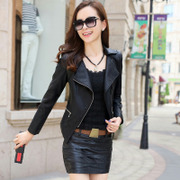 2017 spring and autumn dresses female short leather PU leather coat lady small Korean slim Leather Motorcycle Jacket