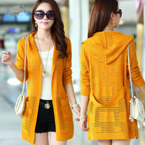 2016 spring loaded new ladies long hooded sweater coat in summer and thin hollow shawl outside Cardigan
