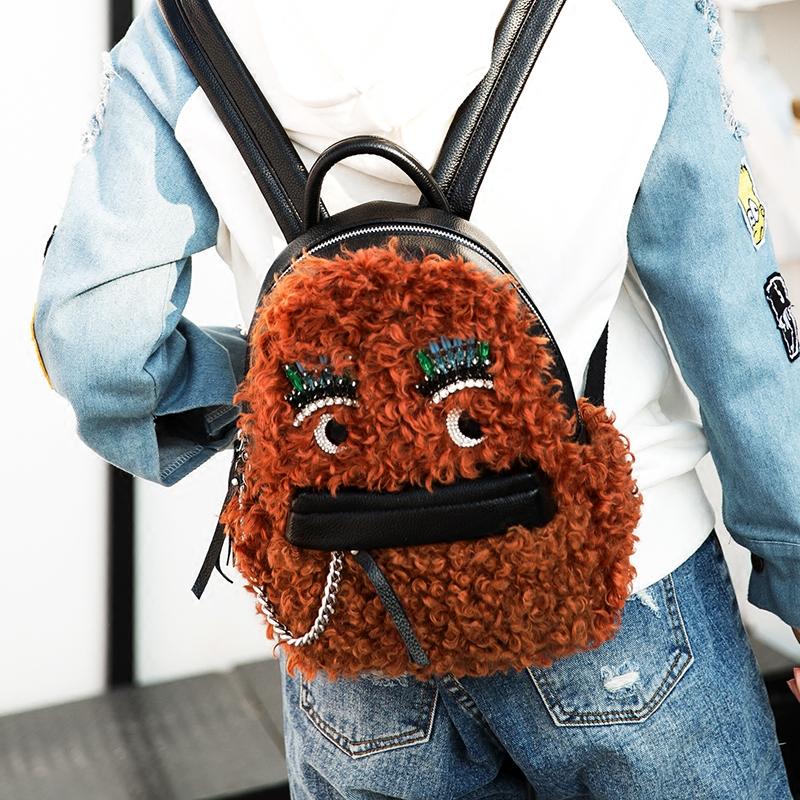 毛毛包女2017新款韩版个性毛绒双肩包女潮百搭眼睛背包可爱小包包