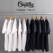 Geyuna Japan heavy cotton loose solid round neck Short Sleeve T shirt and white powder with the tide