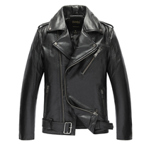 Cowhide leather jacket motorcycle leather mens slim cropped motorcycle jacket flying suit plus size coat cotton