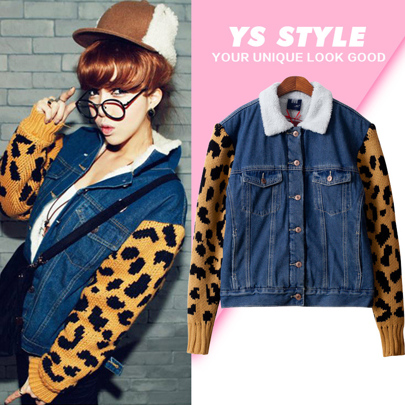 Qiu dong Han Guoyuan SuFeng trend to thicken the lamb fur leopard long-sleeved casual splicing cowboy coat lapels