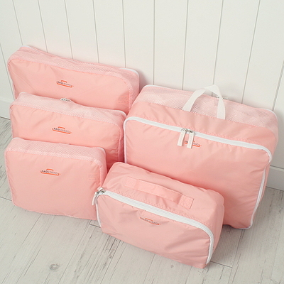 Pure color simplicity includes five sets of travel bags, clothes, underwear, bags, luggage five sets