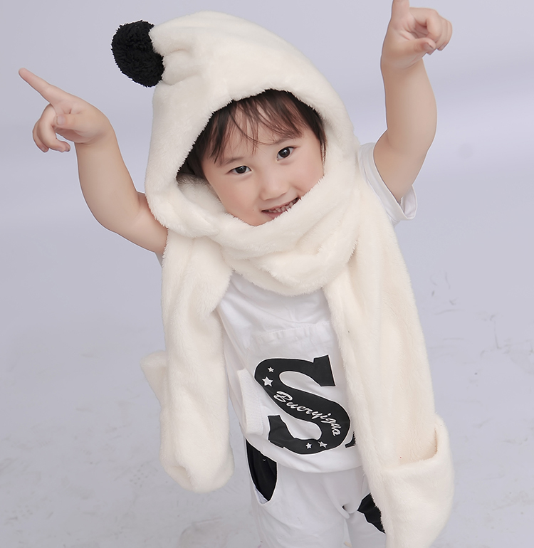 Children's scarf thickening three pieces, autumn and winter men and women children's hats, scarves, gloves, three one scarf scarf