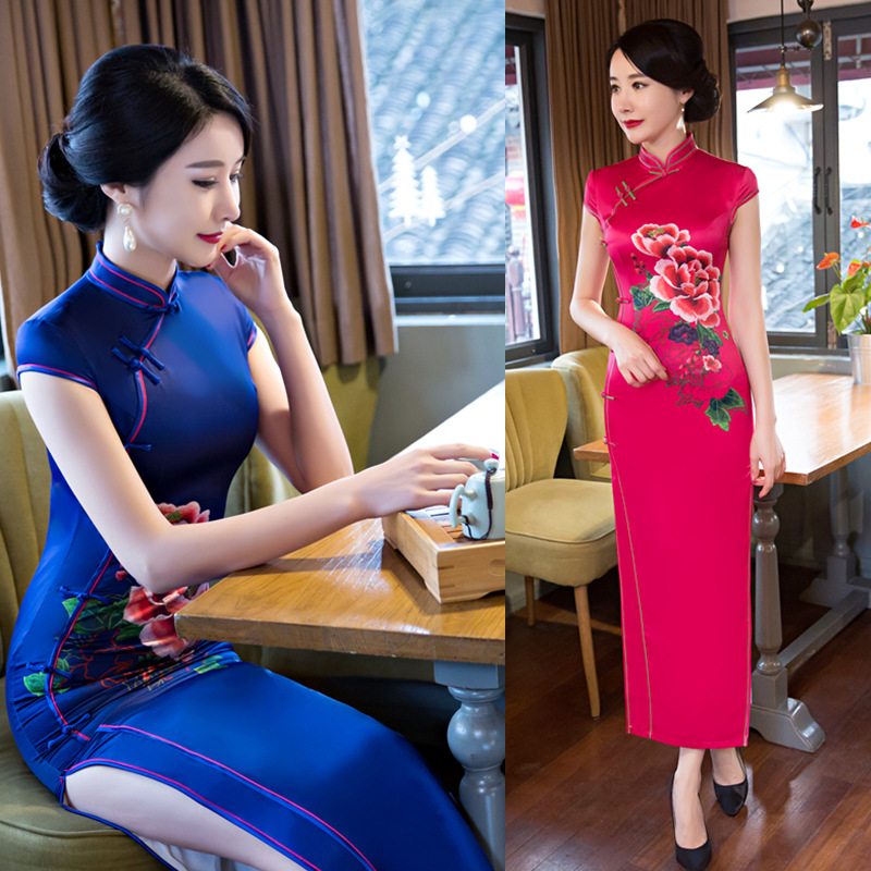2017 spring and summer new cheongsam, long fashion, less ladies, cheongsam, dress, national style, everyday Chinese dress