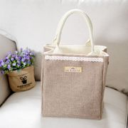 Jute board insulation environmental protection box bag lunch bag with cotton hand pulling bag retro minimalist Fantong