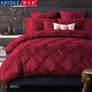 European wine red satin wedding four piece bedding cotton bedding set of more than 6 simple American Wedding