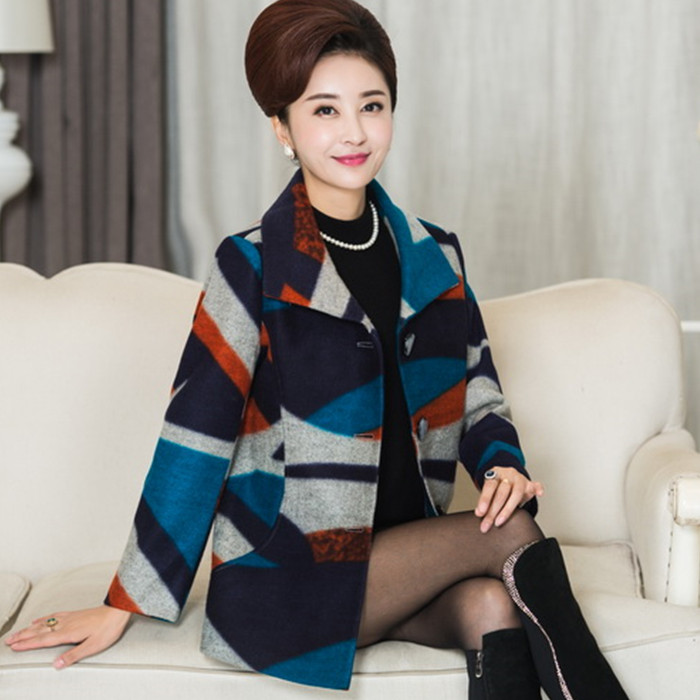 Jane's mother fox 40 to 50 years old with qiu dong outfit coat in middle-aged women's clothing woolen cloth cloth coat long coat