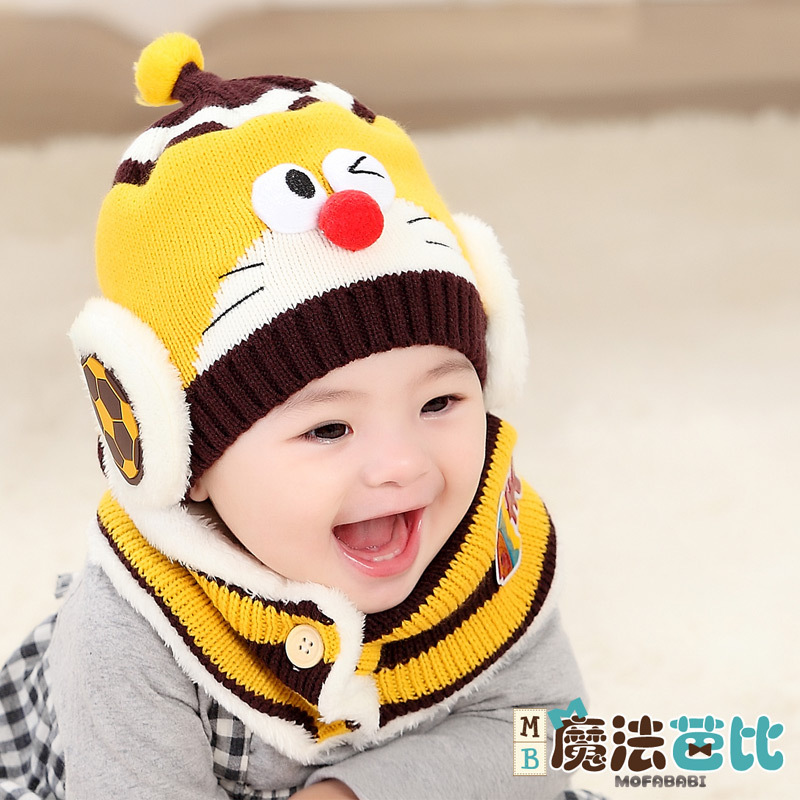 The new children's hat scarf Two Piece Baby Plush hat scarf suit with winter warm baby hat