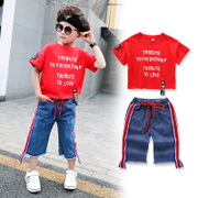 The child's summer boys set 2017 new children in a set of two Korean Short Sleeved summer baby clothes tide