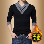 Mens Long Sleeve T-shirt V collar sweater coat Korean slim bottoming shirt in autumn and winter men's cashmere wool clothes and thickening