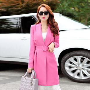 2015春秋装新款女装一粒扣外套韩版中长款气质淑女系带收腰风衣女