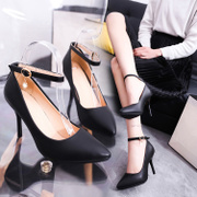 Dadong shoes high-heeled shoes with single fine size in spring and autumn, 2017 new word buckle shoes all-match occupation interview