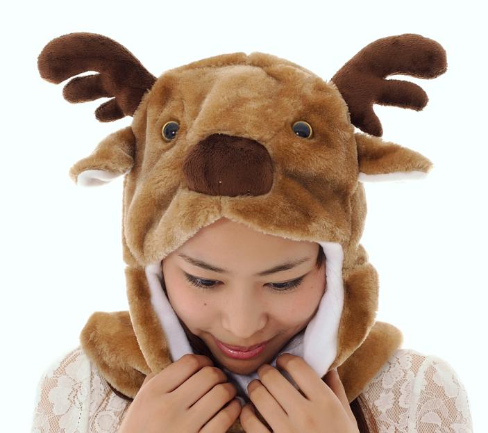 棕色长款小鹿帽子 卡通动物鹿帽子3连体动物手套围巾帽子厂家直销