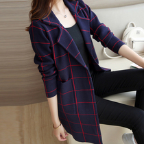 Autumn winter 2016 new Korean version of Joker slim knit shirt long sleeve Plaid striped long Cardigan womens blouses in tide