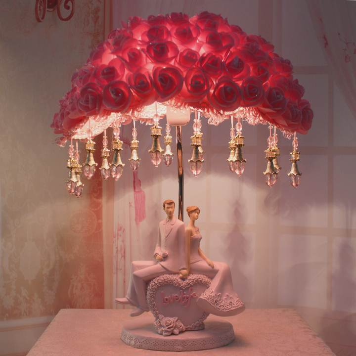 European style wedding products wedding gifts red lamp bedroom bedlamp creative fashion warm new gift ornaments