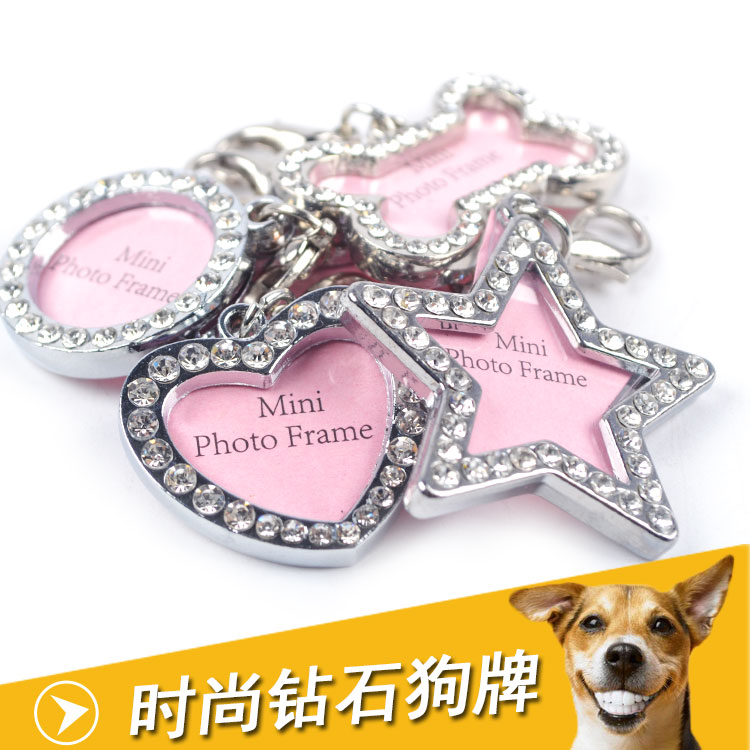 Teddy dog tag fashion diamond Jin Mao Gougou identity pet tags, dog tags bear dog jewelry tie