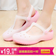 Crocs Mary Jane flat sandals discoloration jelly shoes beach shoes 2016 new women slippers summer snow