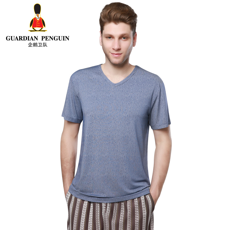 GP V men's summer ice penguins guard jacquard collar and short sleeves T-shirt male color stripe