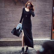 2017 spring dress T-shirt slim dress hem slit bag hip long long sleeved shirt skirt