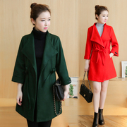 Xin ya Jody winter long in 7 minutes of sleeve cloth unlined upper garment Han edition dress fashion square collar fur coat