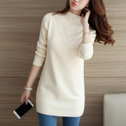 2016 new winter Korean female sweater coat in the long section of thick solid half turtleneck sweater backing