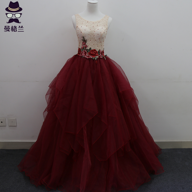 'solo female costume puff length evening dress studio theme long photo theme clothing color yarn