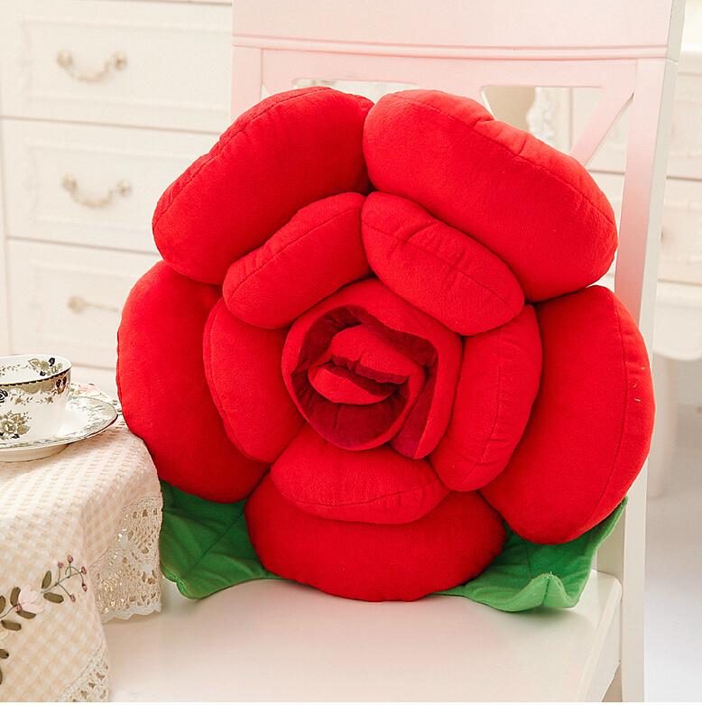 卡通玫瑰花抱枕靠垫 沙发靠垫装饰花朵抱枕 汽车床头靠枕靠背