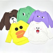 Baby long sleeve t-shirt for men and women solid color cartoon-childrens spring cotton small Tong Yuan collar shirt top