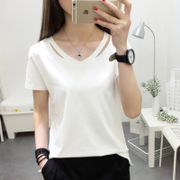 Short sleeved t-shirt female 2017 summer new Korean students all-match loose half sleeve solid color shirt V collar Korean fan clothes