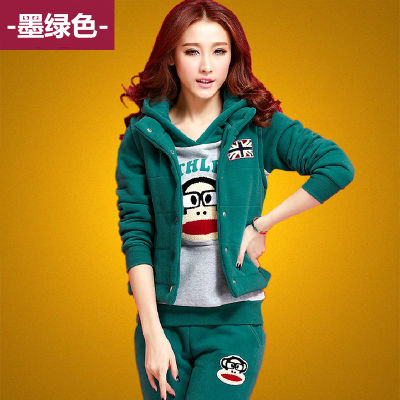 2015 new Paul Frank cartoon and flocking thick sweater set of three sports and leisure fashion fall/winter suit women boomers