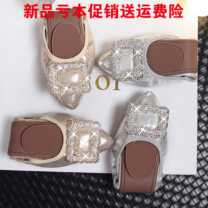2017 New female egg roll shallow mouth flat-tipped diamond side buckle shoes Small Code 31 32 33 Peas Scoop Shoes