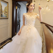 A new 2017 small tail shoulder wedding bride dress elegant Korean slim bride simple strapless gown