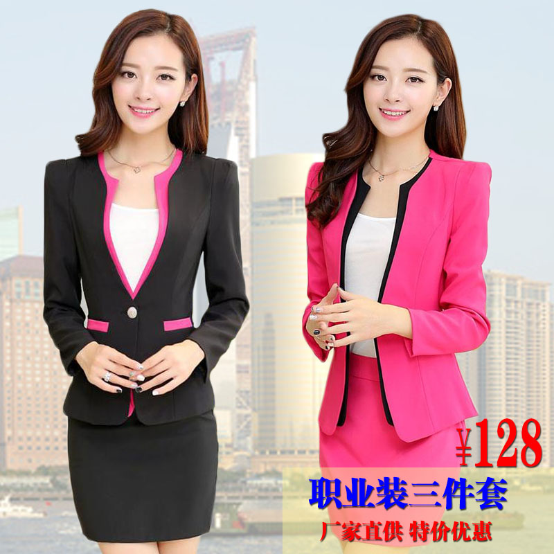 2015 fall/winter women's wear suits dress suits small suits long sleeve slim beautician uniforms
