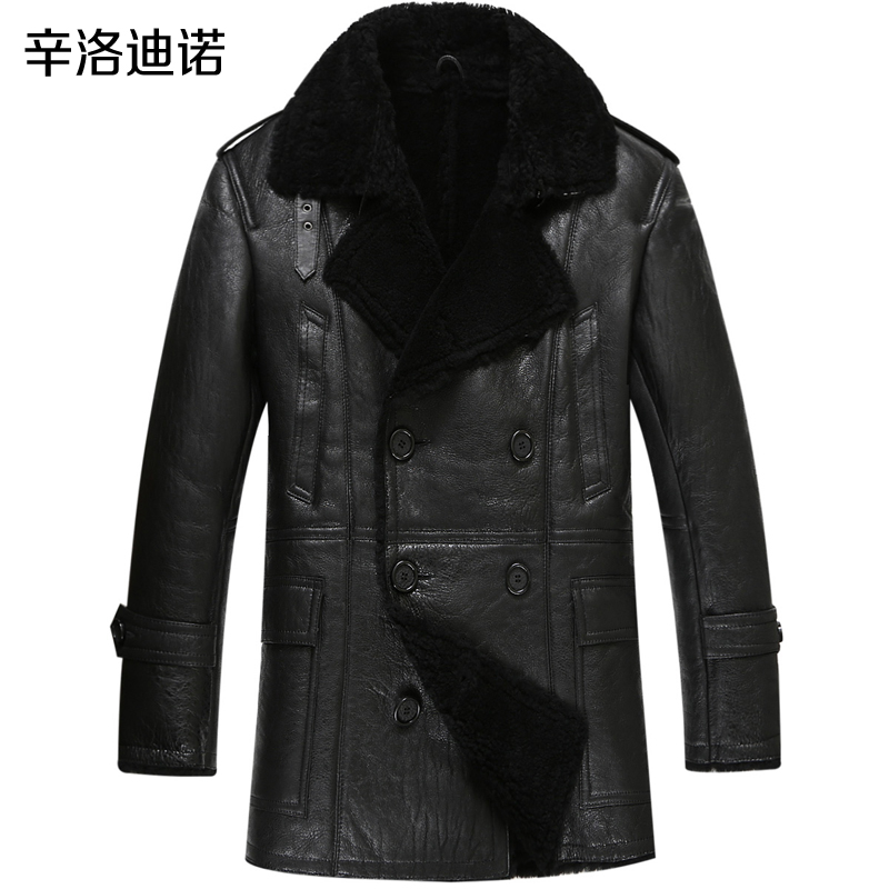 Luxury fashion men's clothing show, leather clothing, men's long bursts of fur, fur coat, male