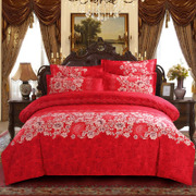 Xiangfei textile four piece wedding bedding 1.8m red wedding sanding thick quilt single 2 meters