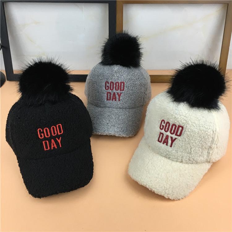 冬款仿羊绒保暖鸭舌帽儿童毛球棒球帽男女童出游宝宝时尚字母帽子