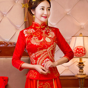 The bride wedding dress style dress show Wo wedding cheongsam new winter clothes and long red toast