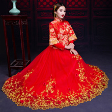 Show 2017 new Chinese wedding clothes Wo Bride Wedding Dress Gown Dress cheongsam wedding dress female dragon toast in winter