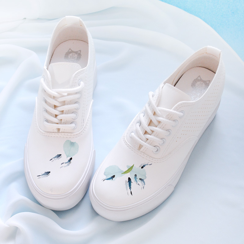 Summer fresh and breathable little white shoes is low help platform higher leather sneakers women Arts antique casual shoes