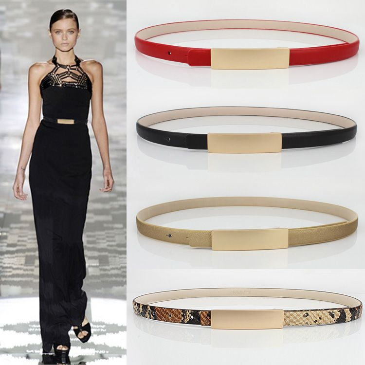 Simple fashion leather belt metal all-match fine decorative belt dress female sub black white sweater accessories