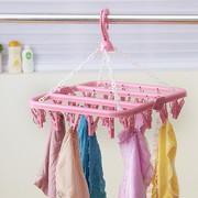 32 clip folding clothes hanger windproof clothes hanger plastic clip adult children socks rack shelf sun baby