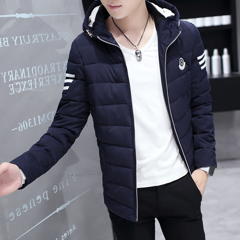 New collar solid color in autumn and winter coat men and adolescent men's winter jacket men's Korean youth fashion