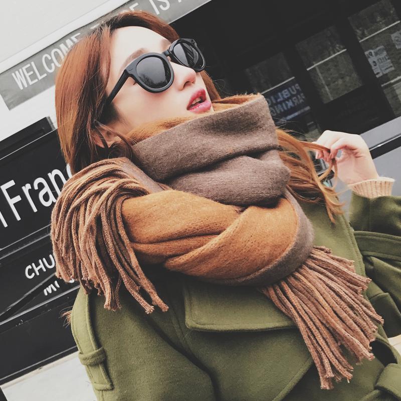 秋冬天超长款韩国纯色围巾女冬季学生百搭保暖加厚韩版大披肩两用