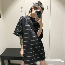 2017 new summer dress in the long section of the Korean version of the BF wind loose striped short sleeved T-shirt thin coat students tide