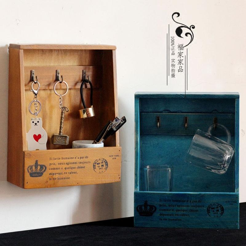 zakka复古壁挂创意家居客厅墙面装饰门口玄关挂钥匙收纳木盒包邮