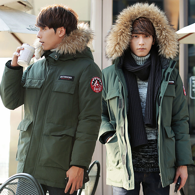 Men's winter military clothing coat, Korean version of the long hair, fashion big hair, thickening, lovers wear cotton padded clothes, men and women tide